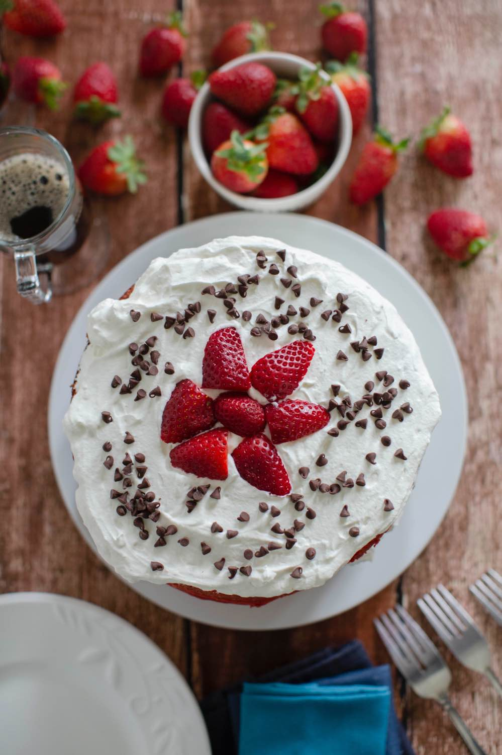 recipe layered ombre strawberry cake with whipped cream frosting