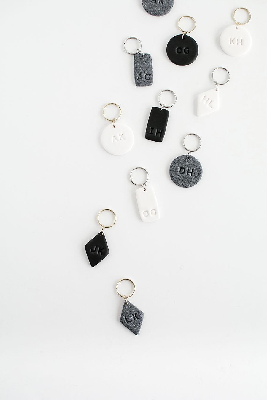 DIY-Monogram-Clay-Keychains homey oh my