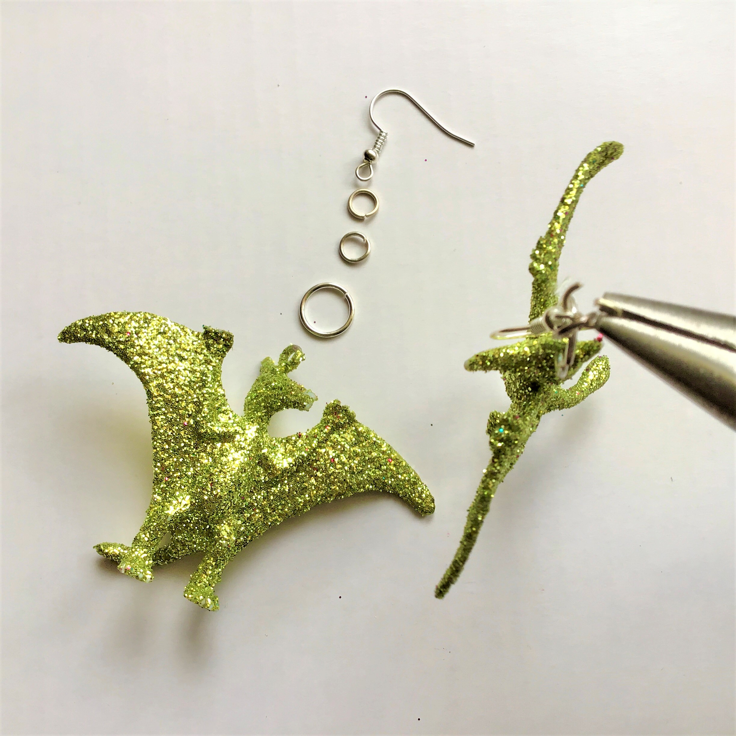 Glitter Dinosaur Earrings DIY - Chandelier Pterodactyl