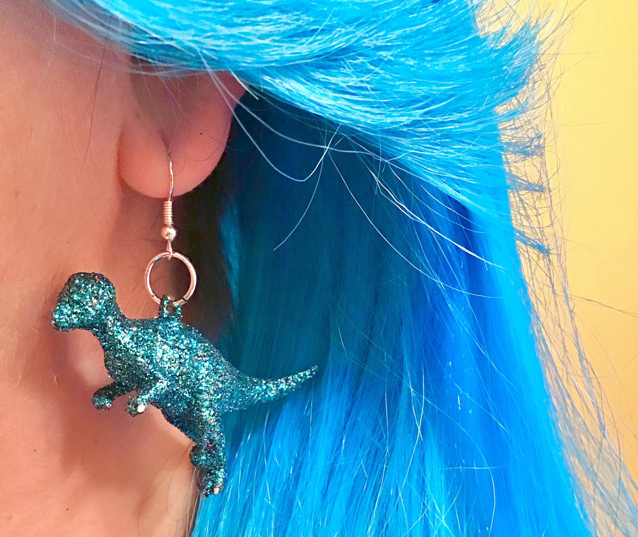 Glitter Dinosaur Earrings DIY - Finished Fashion