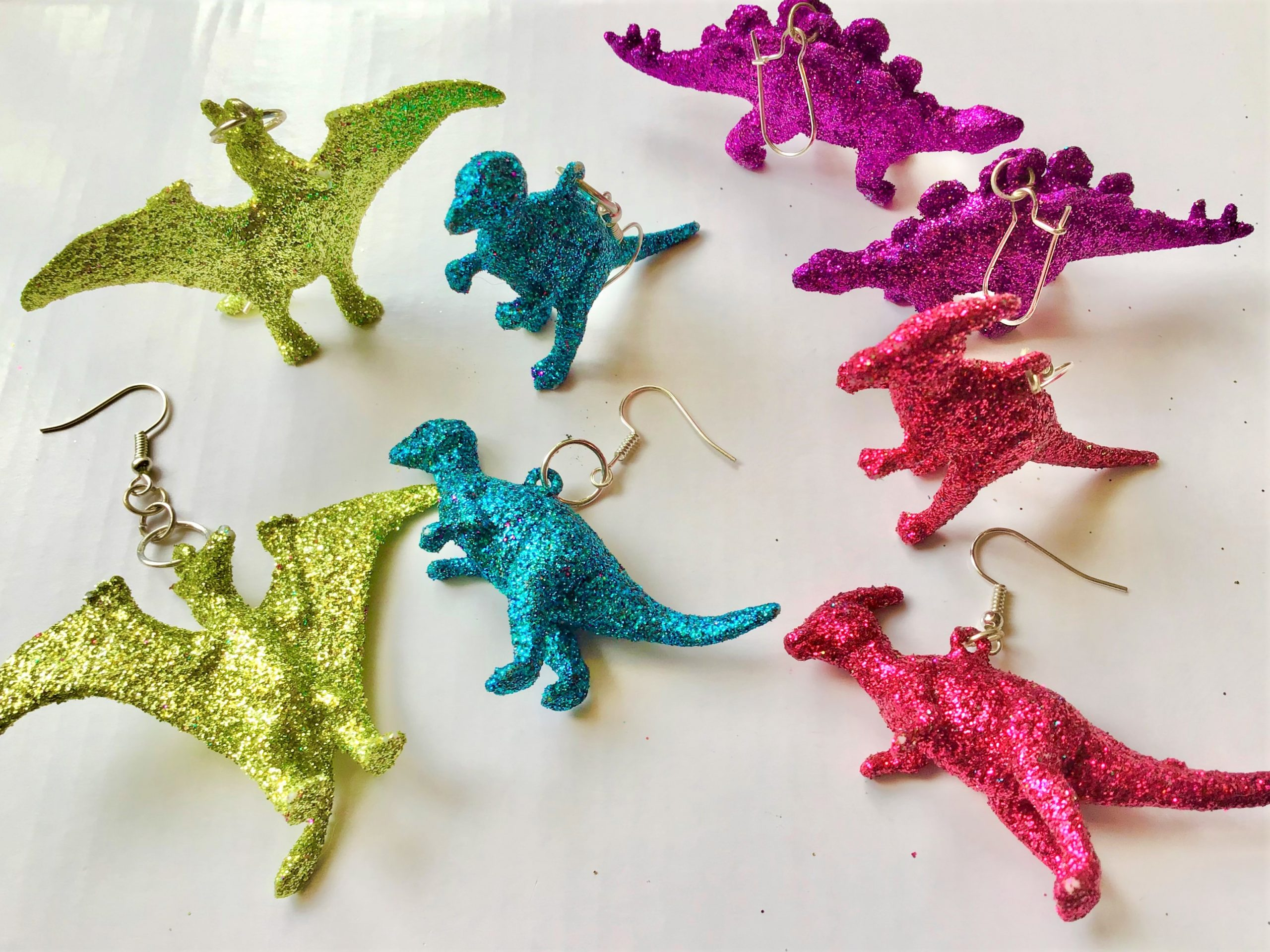 Glitter Dinosaur Earrings DIY - Finished Pairs