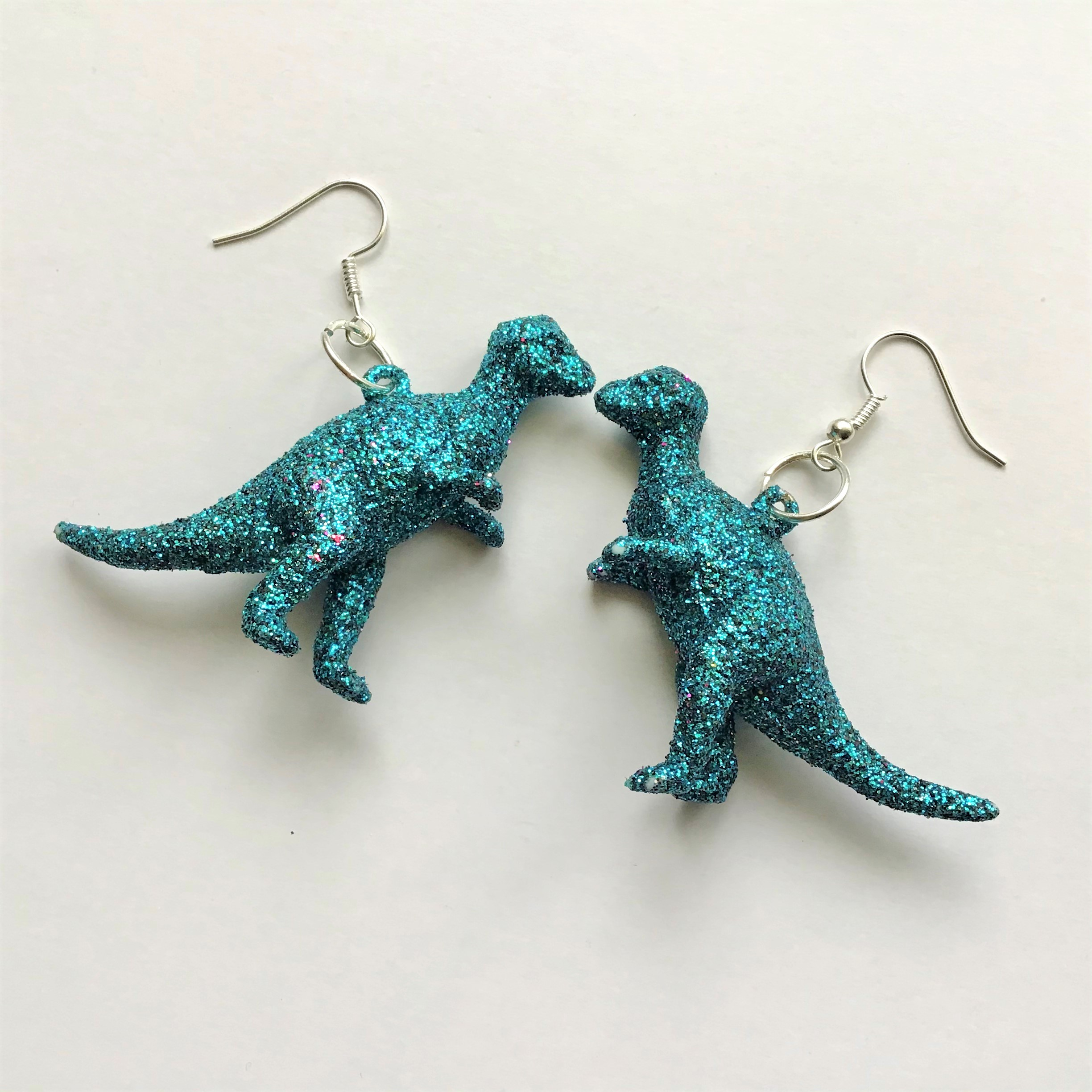 Glitter Dinosaur Earrings DIY - Finished T-Rex