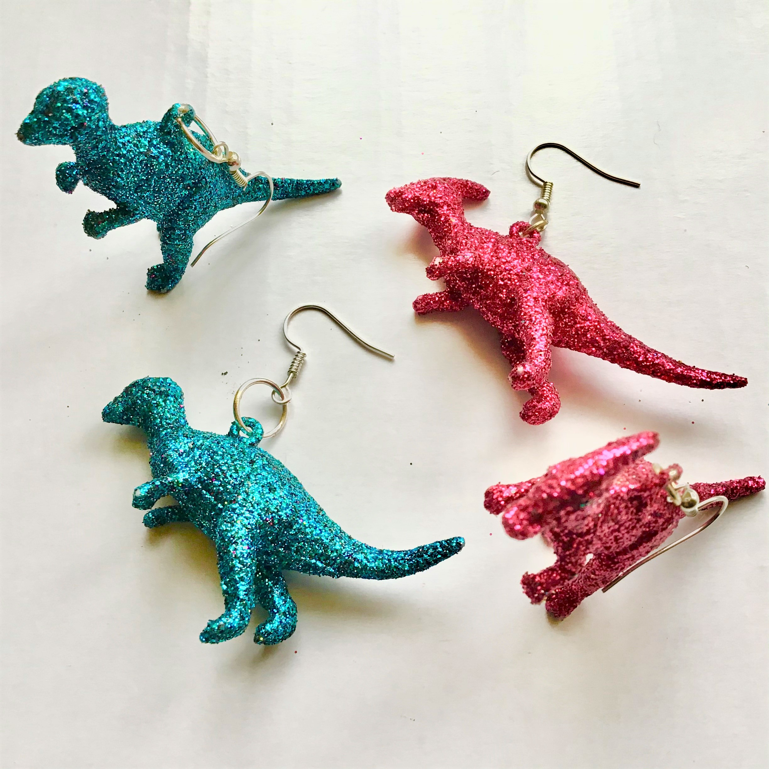 Glitter Dinosaur Earrings DIY - Short Versions