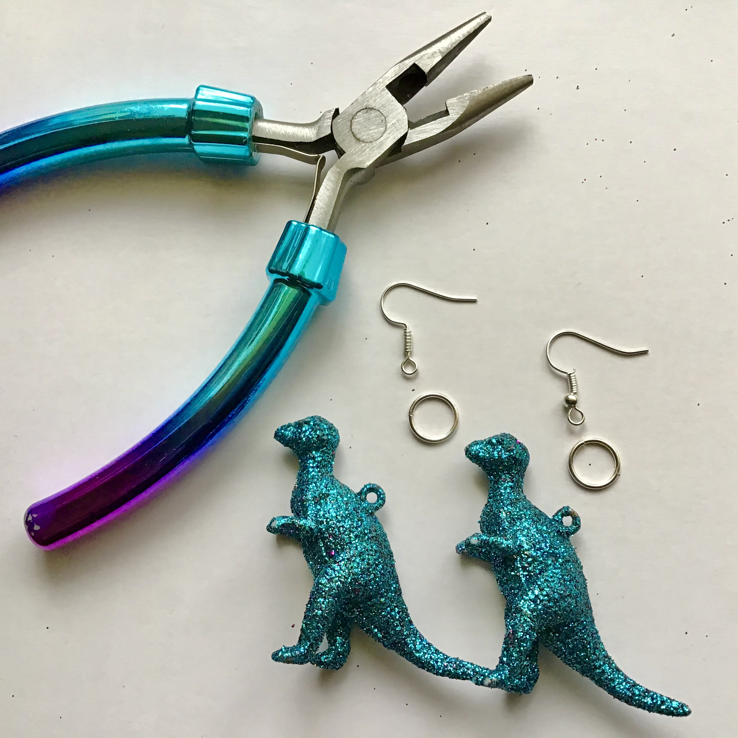 Glitter Dinosaur Earrings DIY - Step One