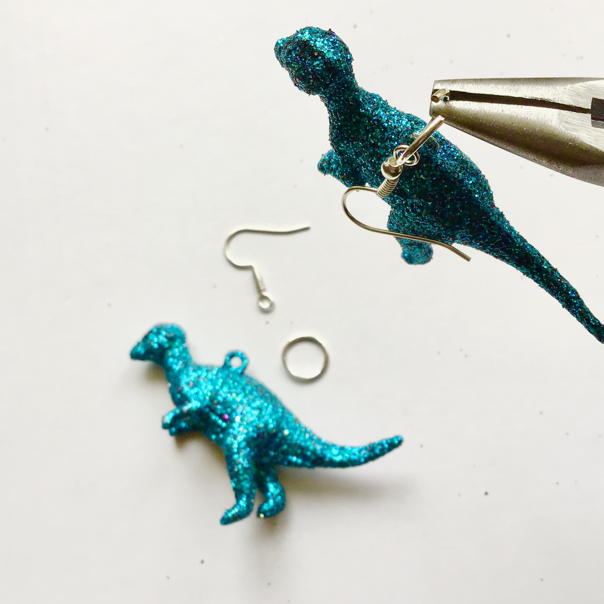 Glitter Dinosaur Earrings DIY - Step Two