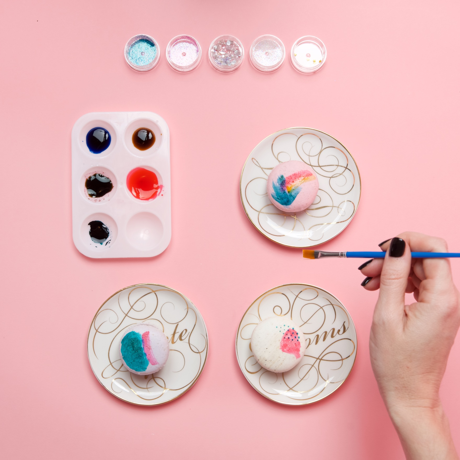 add new layers of color painted macarons tutorial