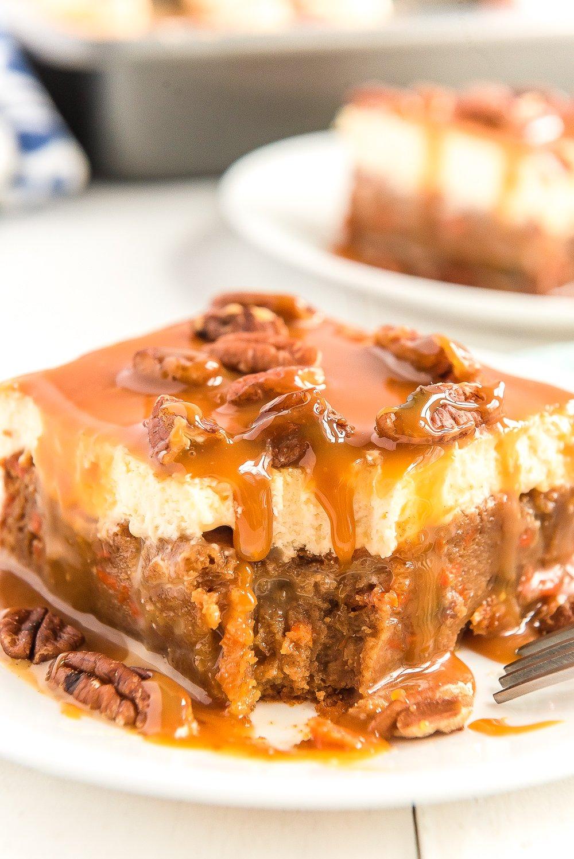 caramel carrot cake poke cake