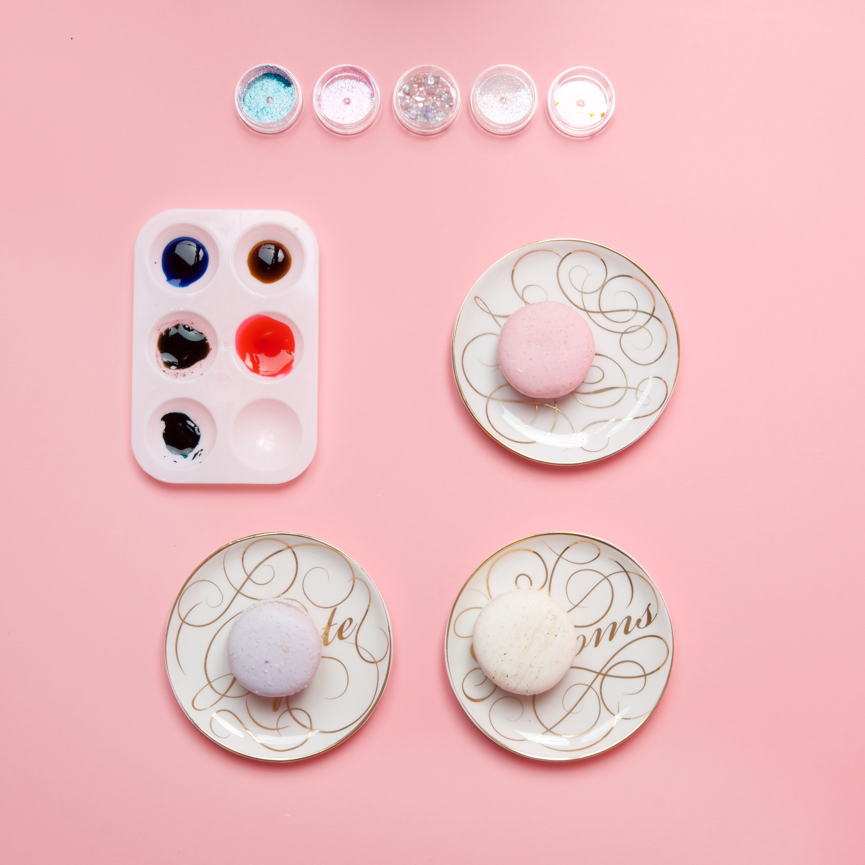 food dye with water macaron painting