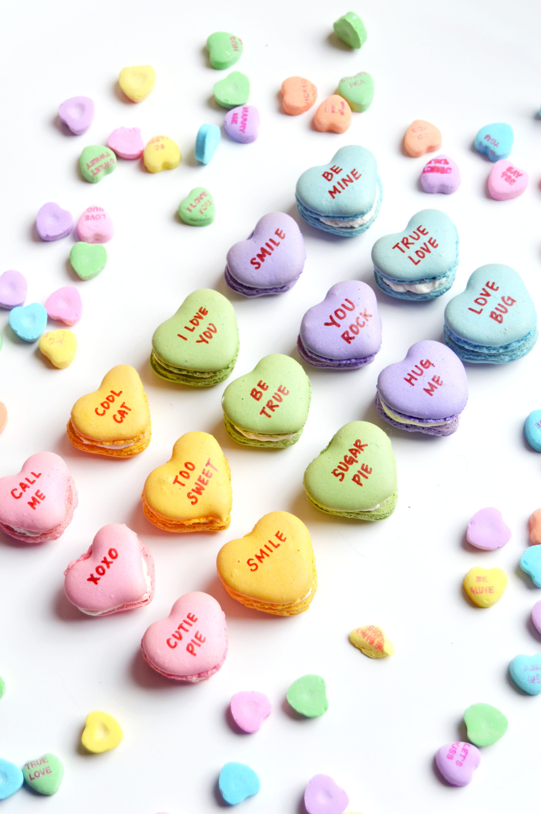 the busy spatula conversation heart macarons