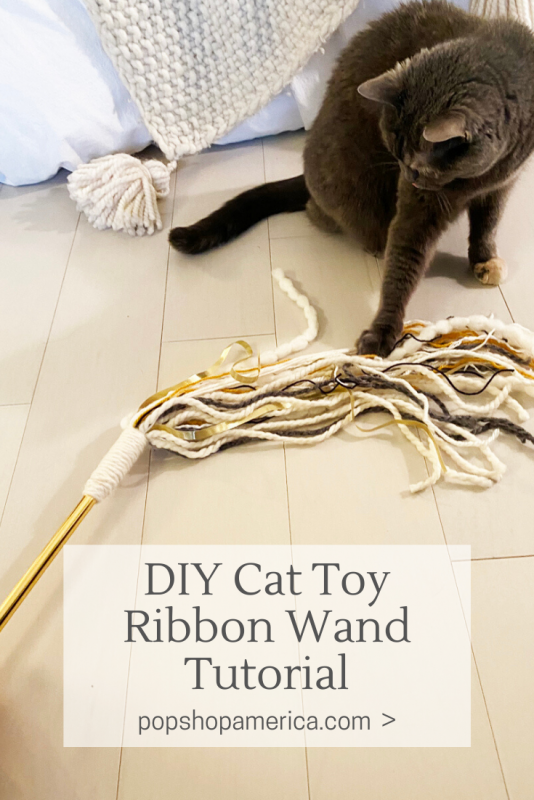diy cat toy ribbon wand tutorial pop shop america