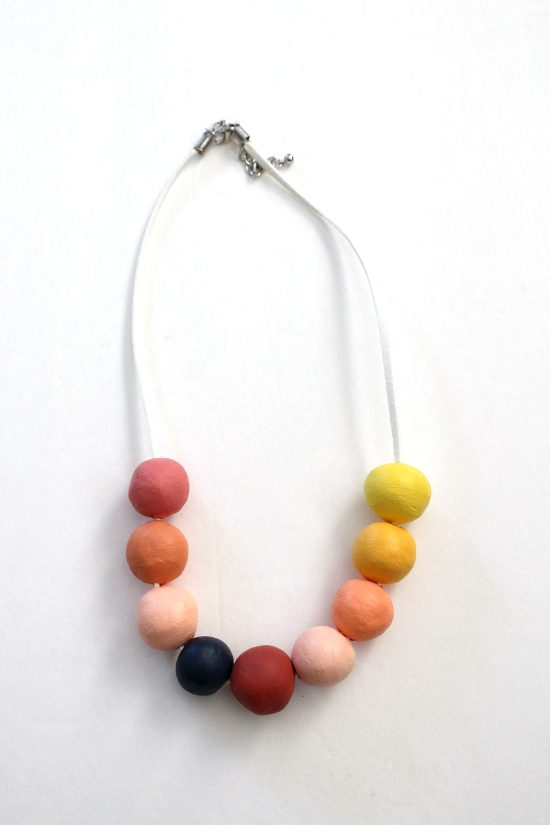 diy clay bead necklace tutorial