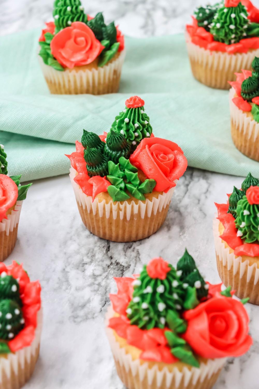 finished cactus cupcakes recipe tutorial pop shop america