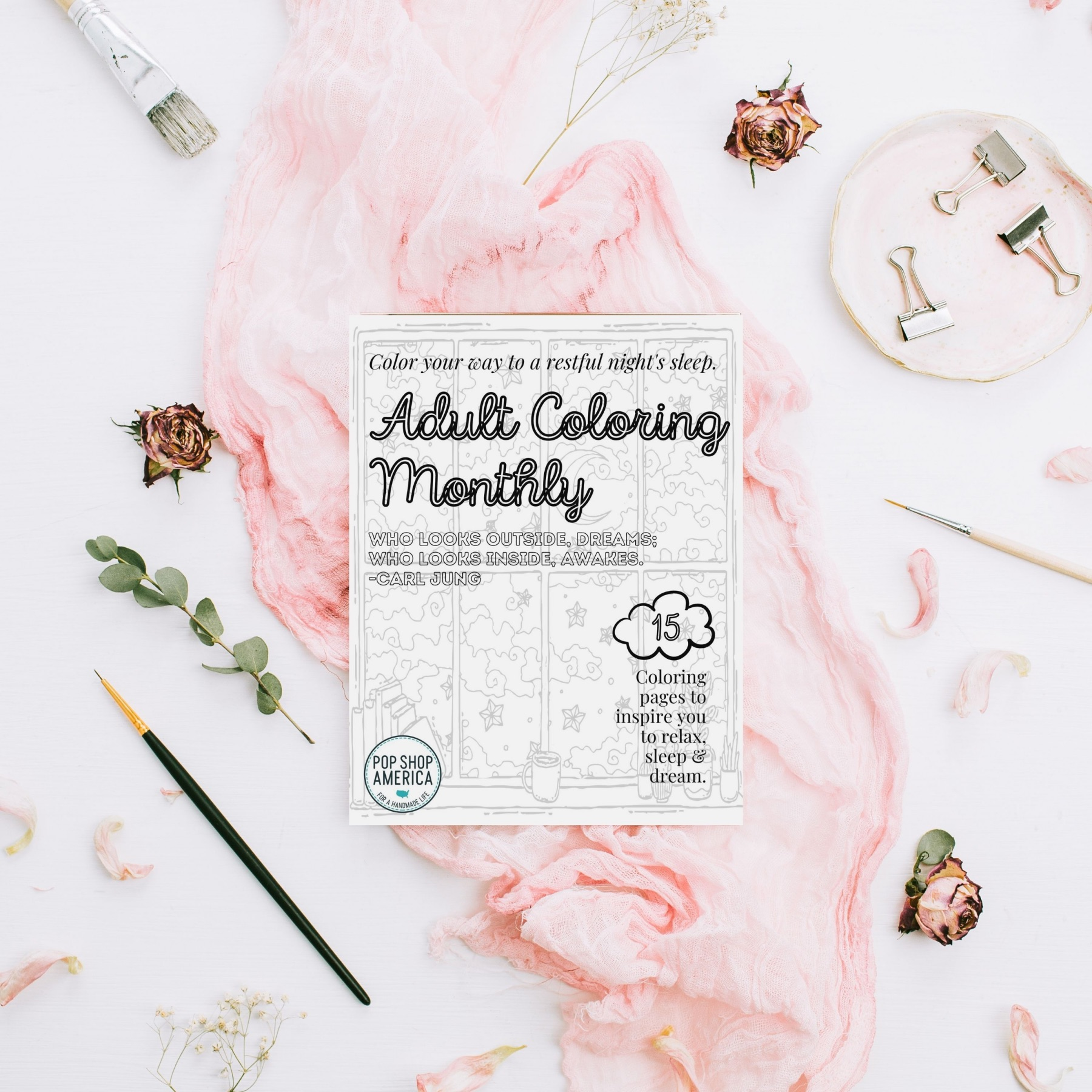 mock up september adult coloring monthly
