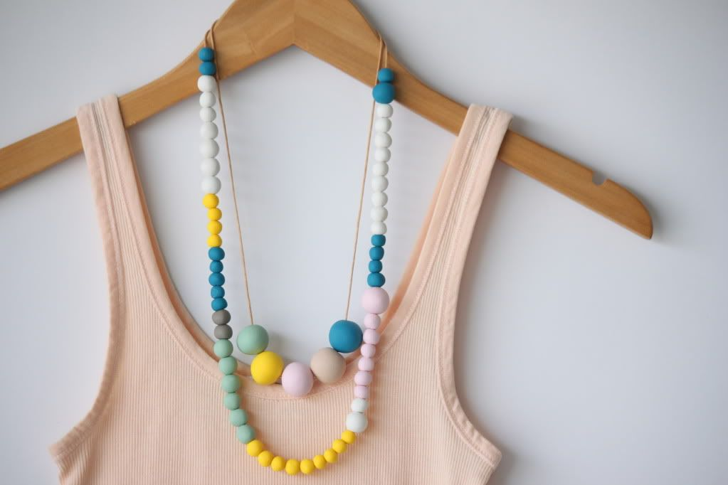 polymer clay bead color block necklace tutorial