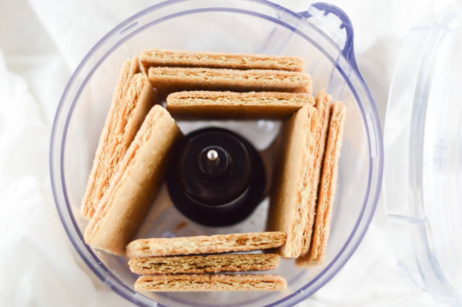 pulse the graham crackers in a food processor