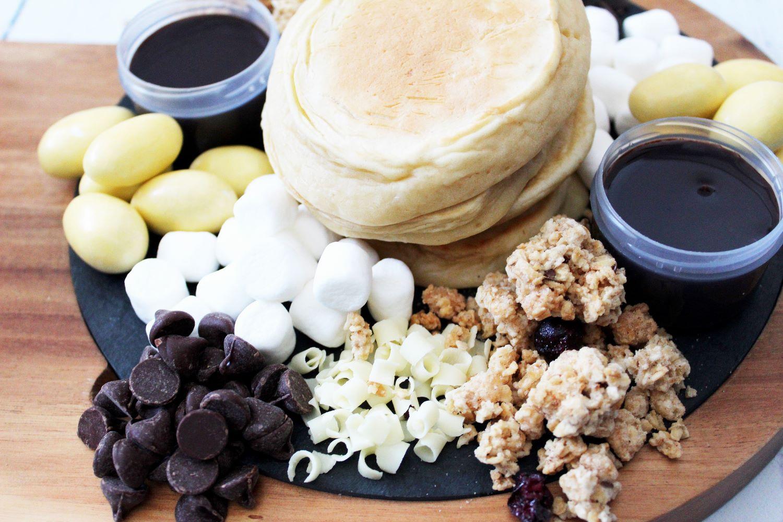 angled closeup pancake charcuterie board 1