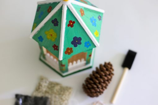 detail diy hand painted wooden bird feeder craft in style