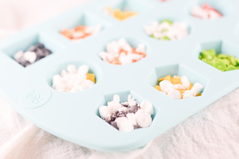 diy crayon bits in gemstone candy mold
