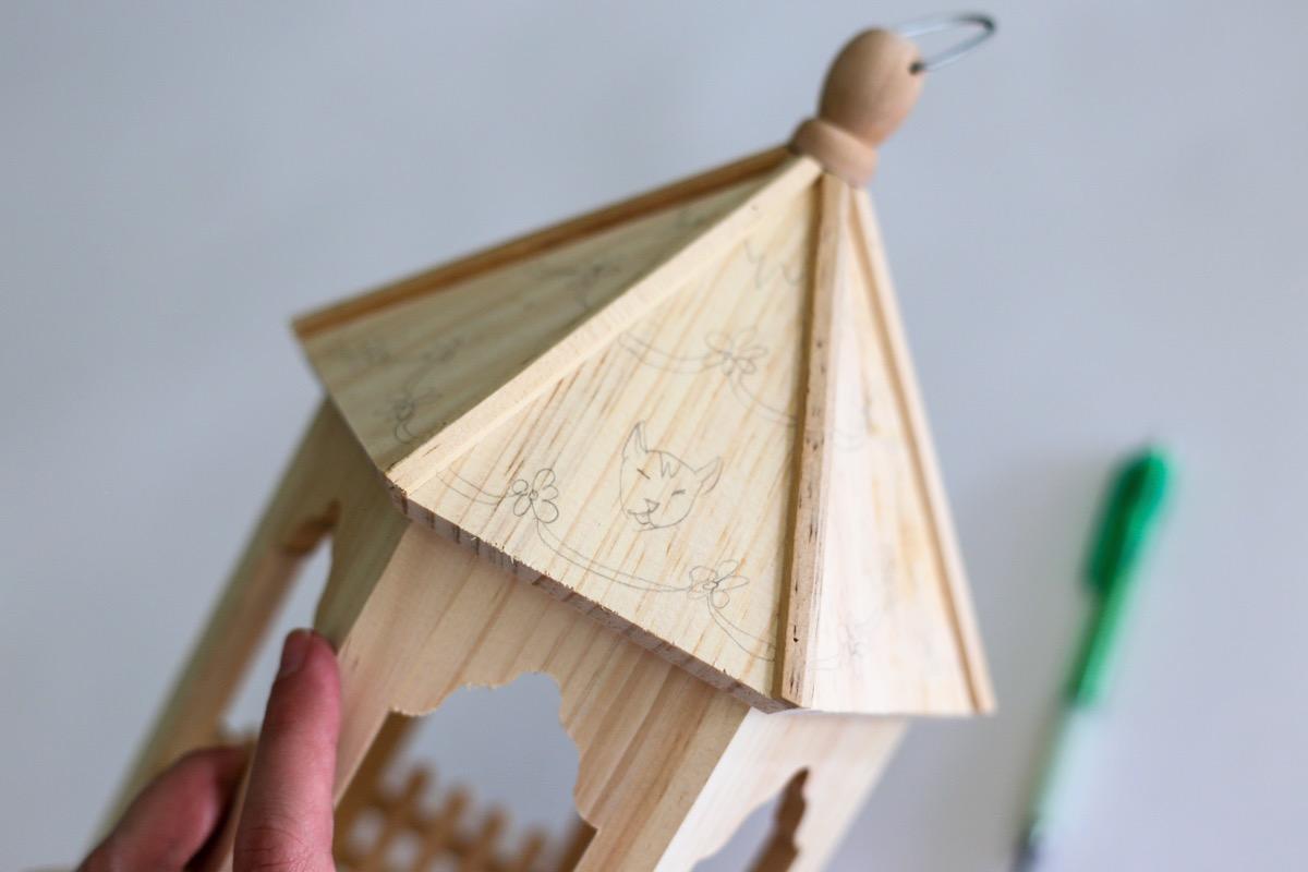 draw designs or color block with pencil diy birdhouse