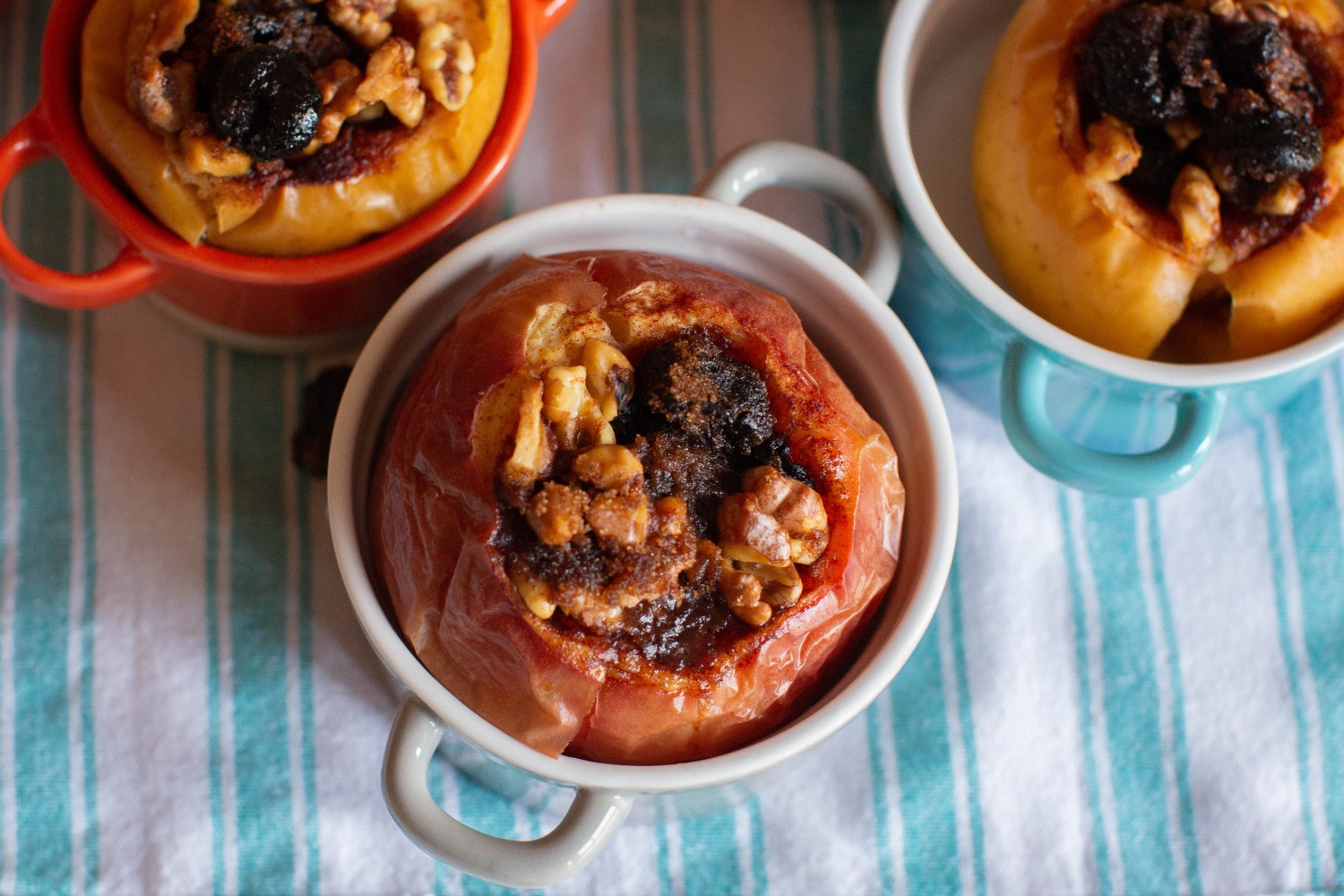 finished baked apples recipe with cherries and walnuts