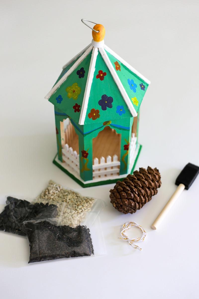 finished painted bird feeder gazebo craft tutorial
