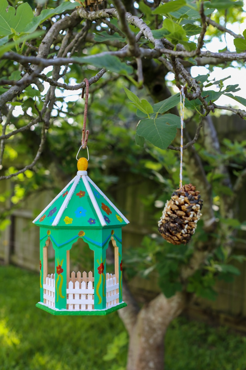 painted wooden gazebo bird feeder finished