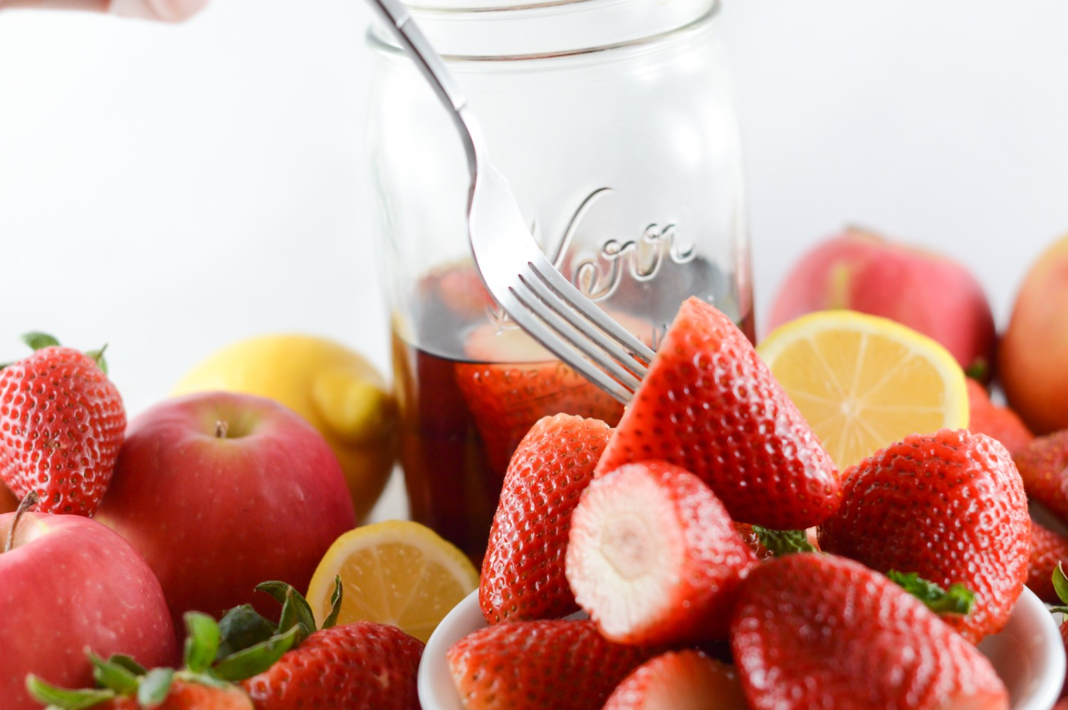 plated vanilla soaked strawberry salad recipe