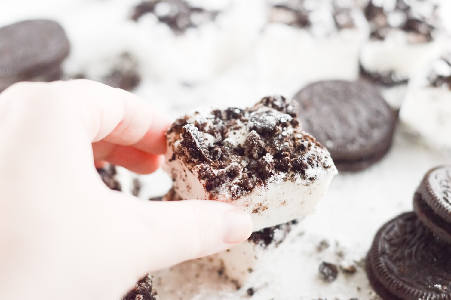 close up finished oreo cookie marshmallows pop shop america