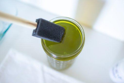 use a brush to apply cyanotype liquid to fabric