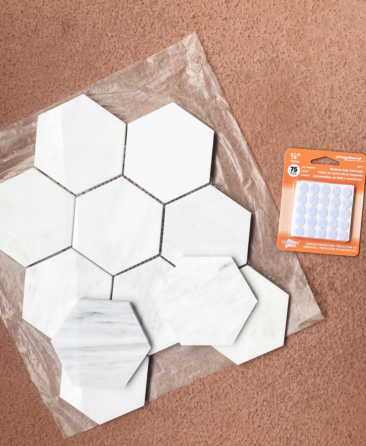 DIY Marble Hexagon Coasters
