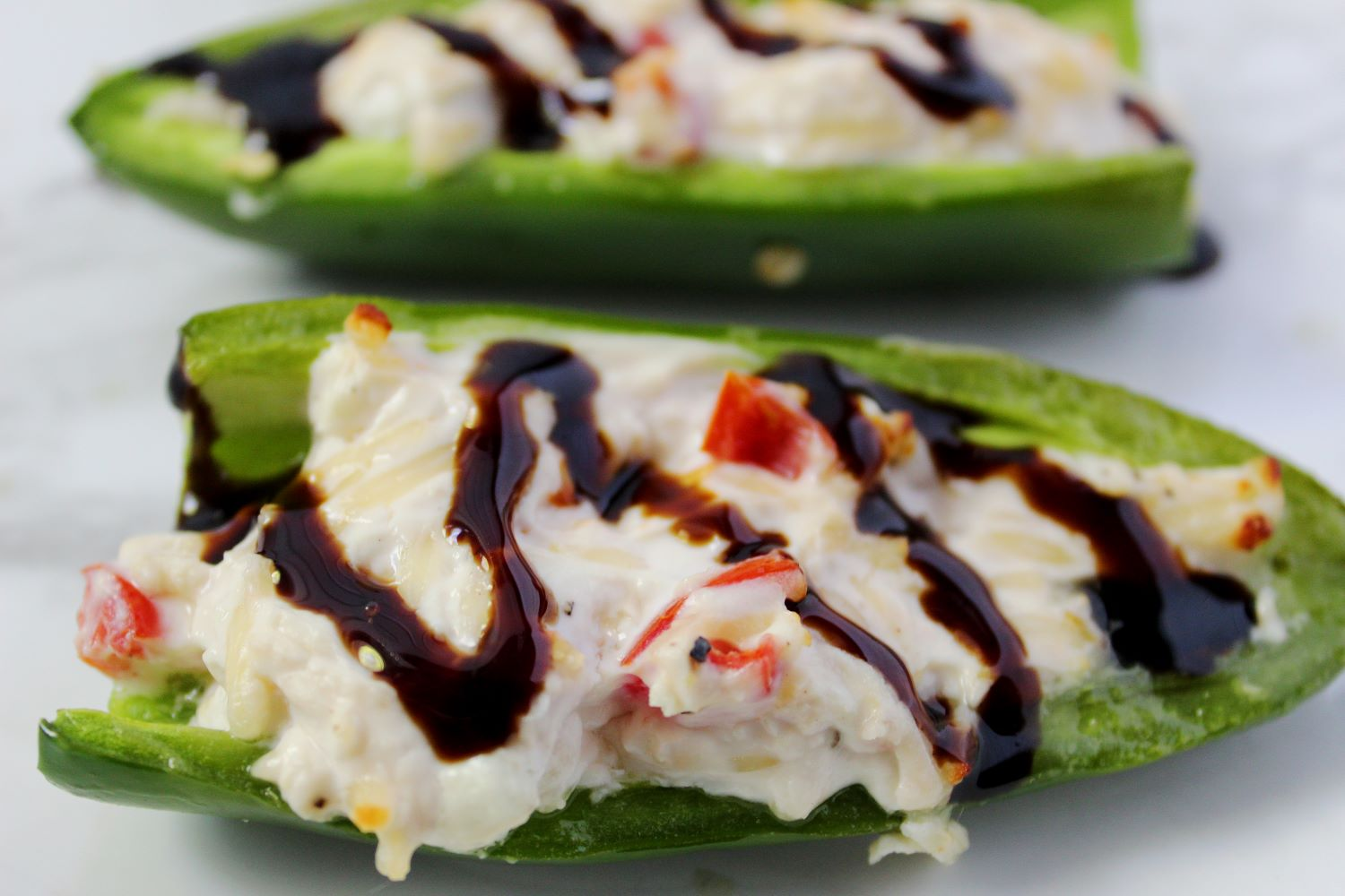 closeup of goat cheese air fryer stuffed jalapeno 1