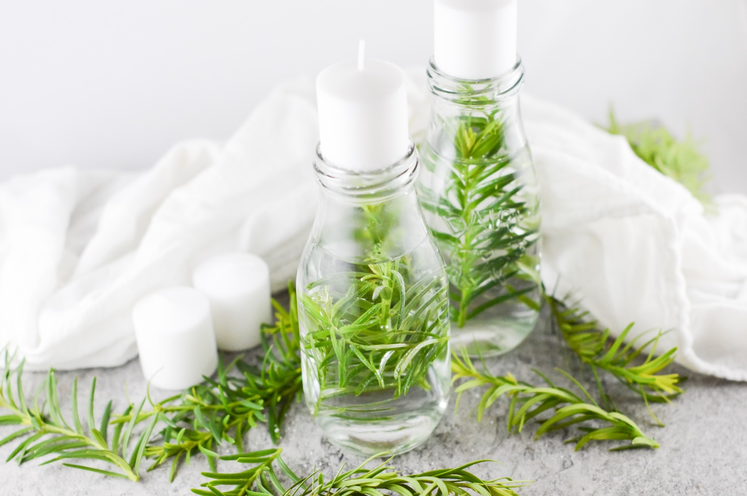 finished diy homemade water candles with fresh herbs