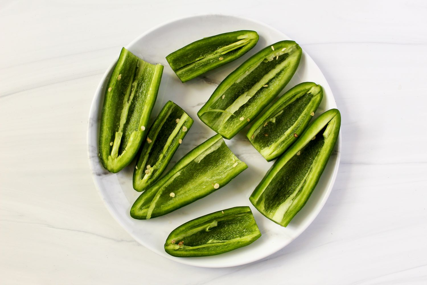 halved jalapenos with seeds removed 1