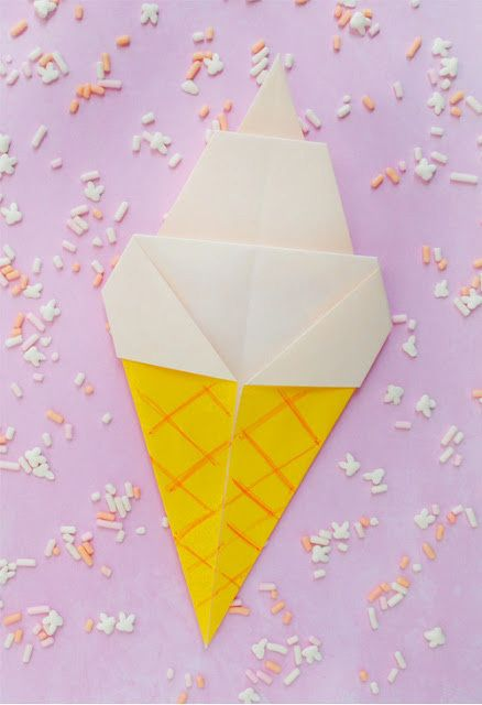 origami ice cream cone tutorial