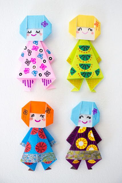 origami paper dolls tutorial