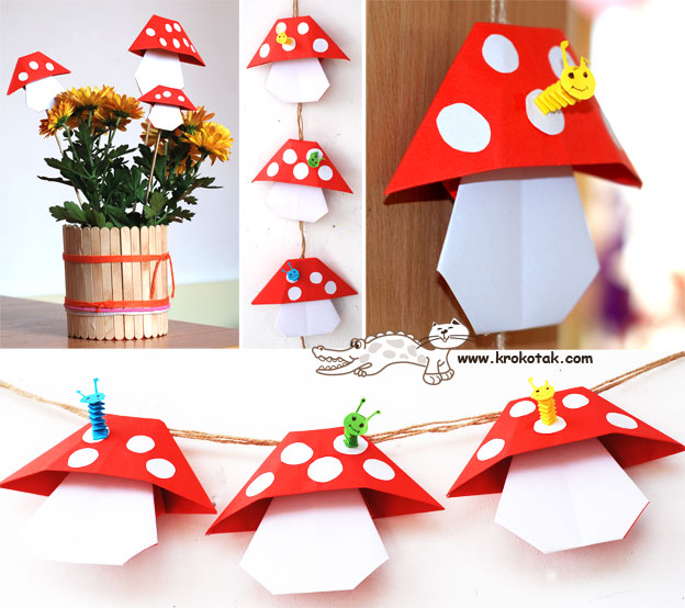origami toadstools mushrooms diy
