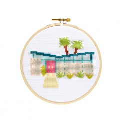 palm springs midcentury home cross stitch kit pop shop america