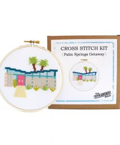 palm springs midcentury home cross stitch kit stranded stitch