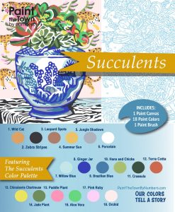 succulents paint by numbers kit detail