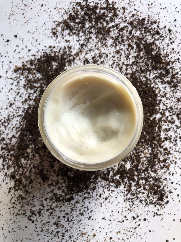 Shea Butter Coffee Cinnamon Salt Scrub Raw Shea Butter Jar Open
