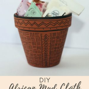 diy african mud cloth painted planter craft tutorial