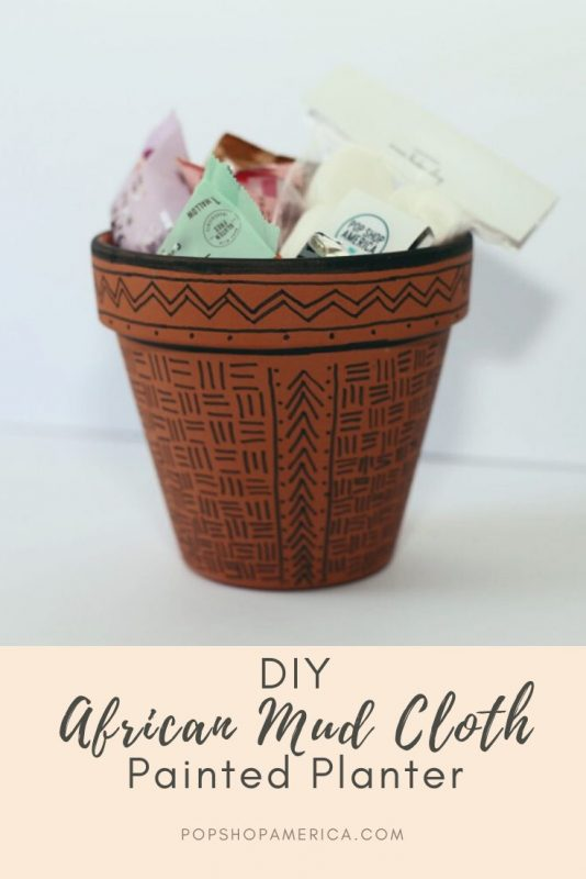 diy african mud cloth painted planter craft tutorial
