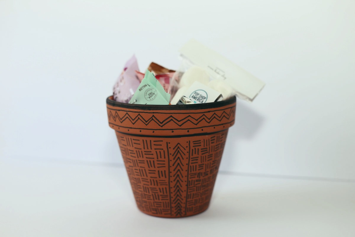 finished painted african mud cloth painted planter