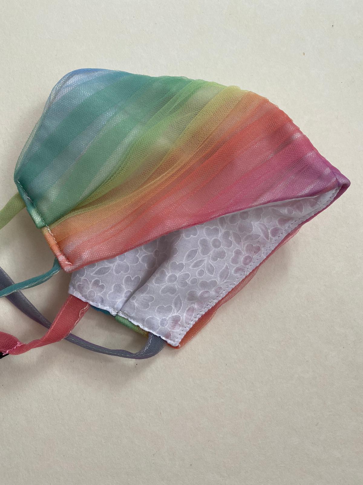 lirika matoshio rainbow tulle face mask