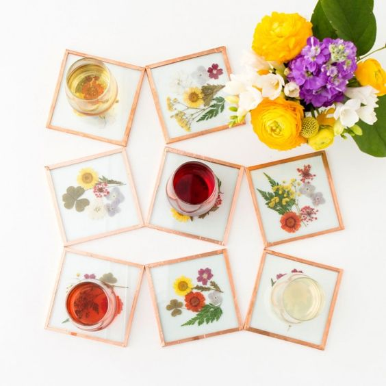 pressed flower coasters diy tutorial