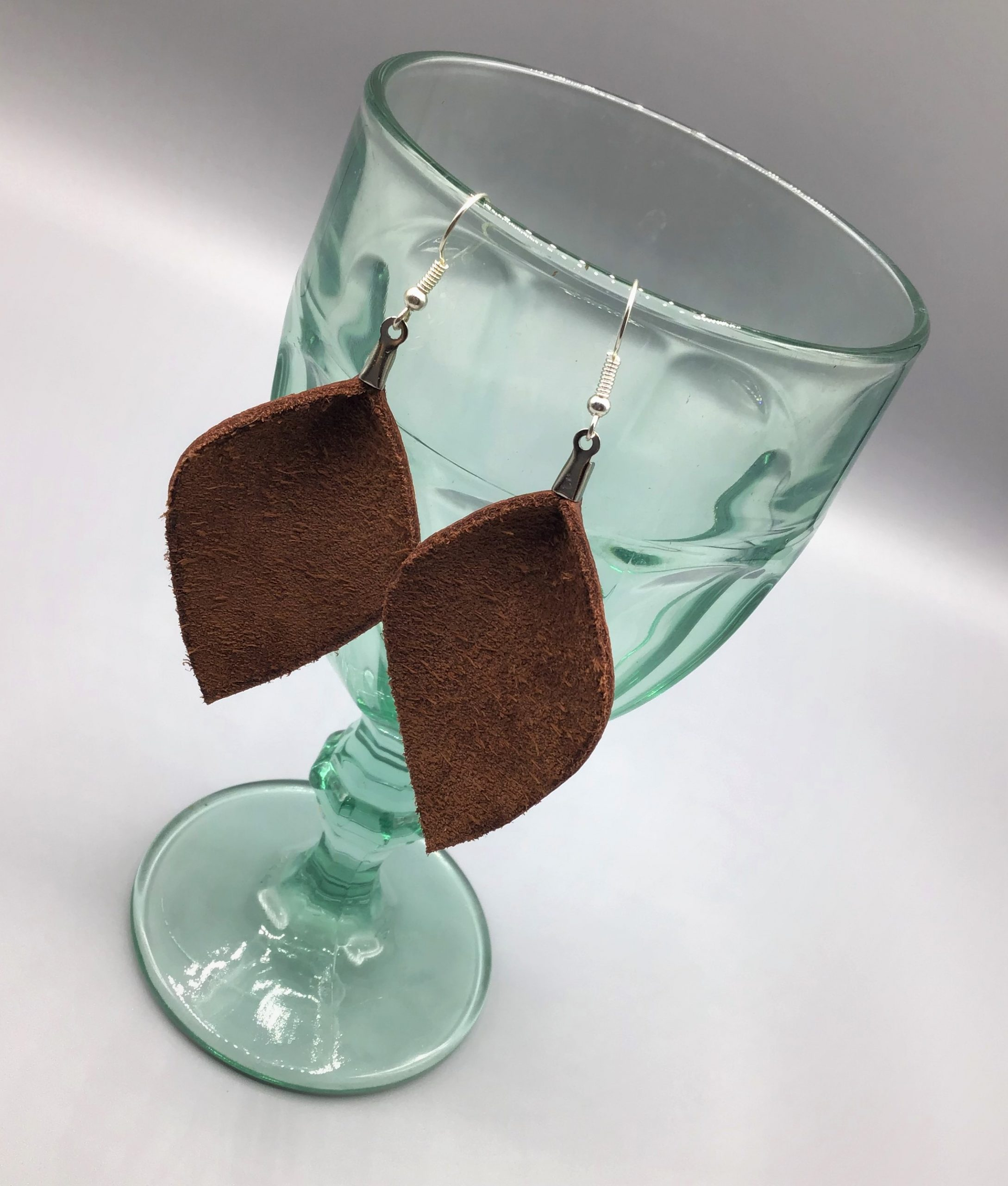 DIY Leather Earrings Leaf Shape Finished