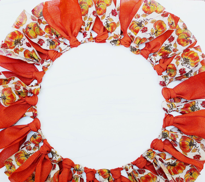 diy fall ribbon wreath lying flat 1