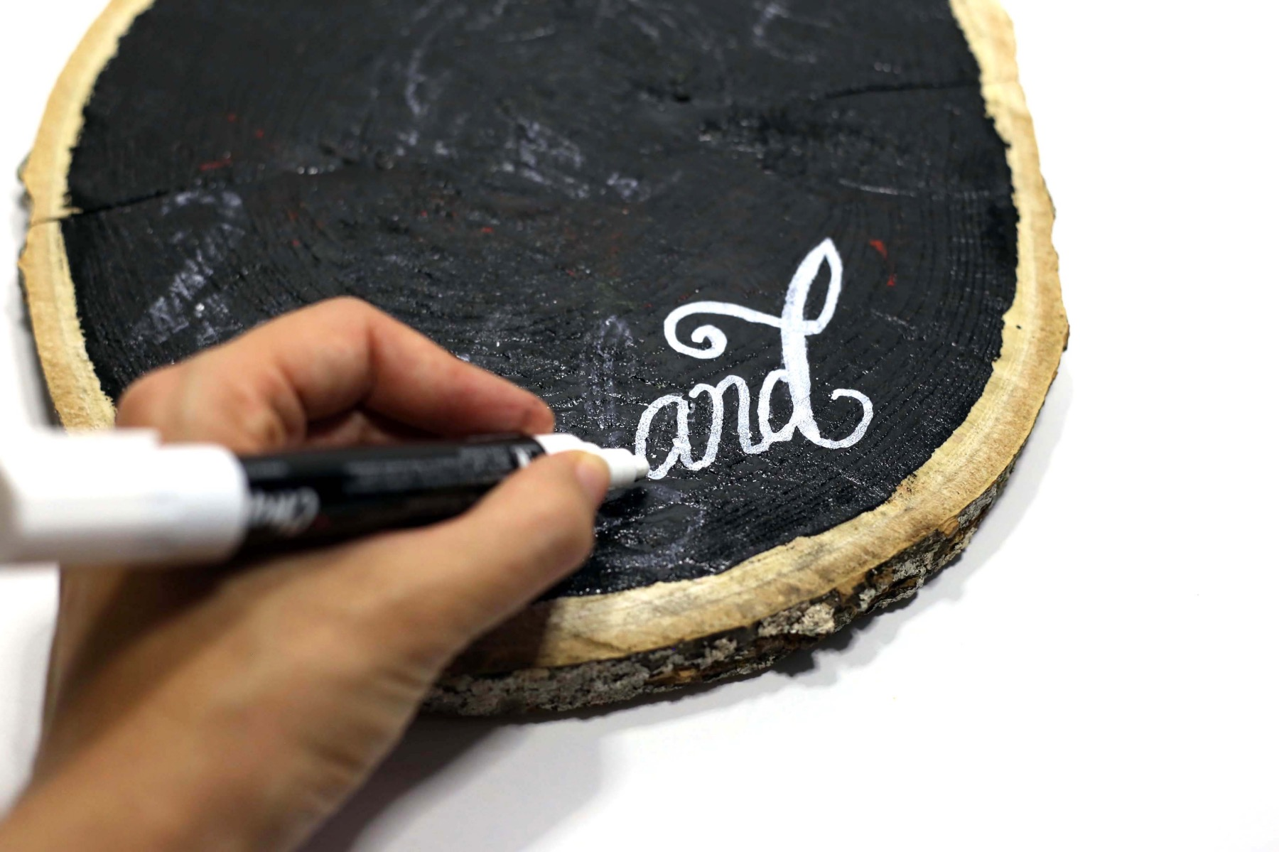 begin to add the chalk pen lettering wood sign diy