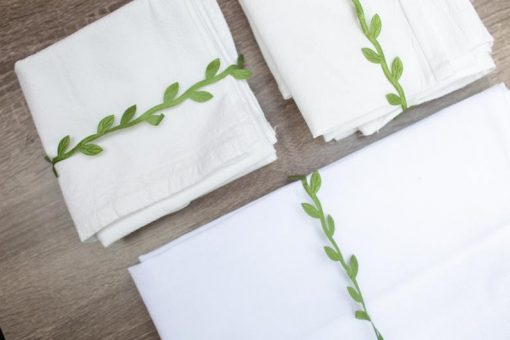 blank flour sack tea towels with raffia