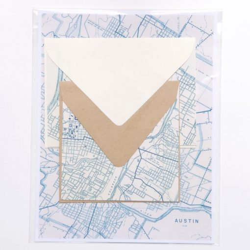 blue map paper envelopes